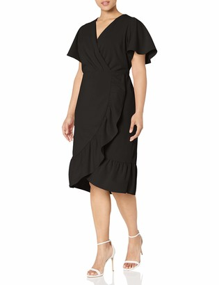 Rachel Roy Women's Plus-Size Short Sleeve Ruffle Crystal Dress