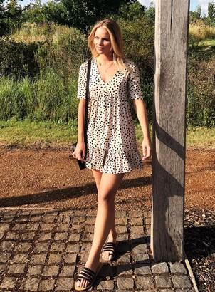 Miss Selfridge PETITE Ivory Polka Print Jersey Smock Dress
