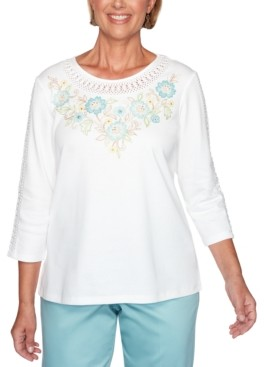 Alfred Dunner Cottage Charm Floral Embroidered Yoke Top