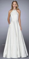La Femme Pleated High Collar Jacquard Rhinestone Embellished Evening Dress