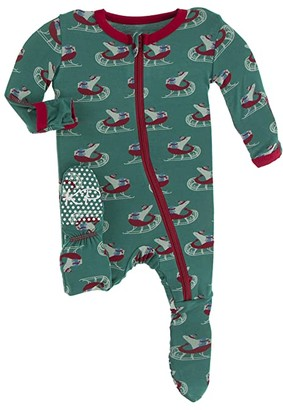 Kickee Pants Kids Print Footie with Zipper (Toddler) (Blue Moon Holiday Plaid) Kid's Jumpsuit & Rompers One Piece