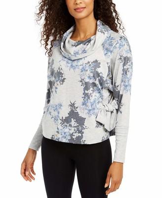 Ideology Womens Gray Tie Sweatshirt Floral Long Sleeve Active Wear Top Size: XL