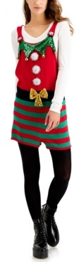 Hooked Up by IOT Juniors' Elf Sleeveless Holiday Sweater Romper