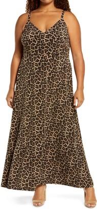 MICHAEL Michael Kors Leopard Print Sleeveless Maxi Dress