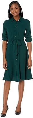 Lauren Ralph Lauren Fit-and-Flare Shirtdress (Deep Pine) Women's Dress