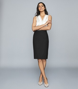 Reiss Hartley Skirt - Textured Pencil Skirt in Black