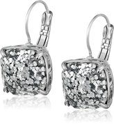 Kate Spade Small Square Leverback Silver Drop Earrings