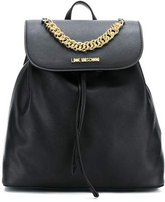 Love Moschino chain trim faux leather backpack