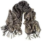 Black Animal Print Silk Scarf