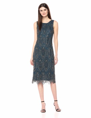 Pisarro Nights Women's Long Dress with Scallop Bottom with a Beaded Motif