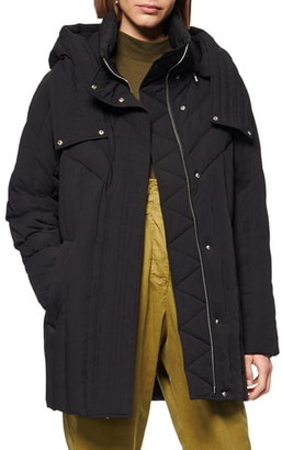 Andrew Marc Hooded Down & Feather Cocoon Coat