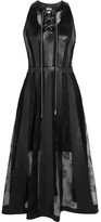 Christopher Kane Faux Leather And Lace Midi Dress - Black