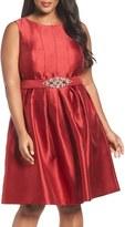 Eliza J Plus Size Women's Embellished Mikado Fit & Flare Dress
