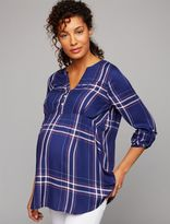 A Pea in the Pod Luxe Essentials Denim Plaid Convertible Maternity Shirt