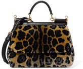 Dolce & Gabbana Leather-trimmed leopard-print velvet shoulder bag