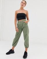 Bershka button top pants in khaki