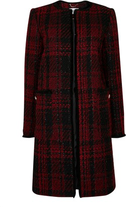 Wallis Red Check Print Coat