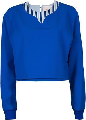 Roksanda Ilincic Blue Oversized Crop Top M