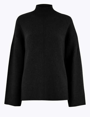 M&S CollectionMarks and Spencer Cashmere Funnel Neck Relaxed Fit Jumper