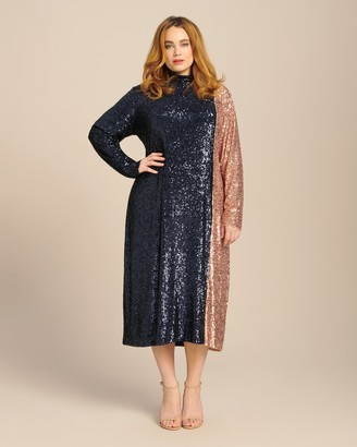 Dima Ayad Two Tone Sequin Midi Dress