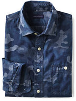 Lands' End Men's Tailored Fit Camo Chambray Shirt-Rich Raspberry