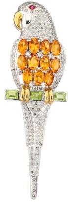 Renee Lewis 14K White Gold, Diamond & Multi-Gemstone Parrot Brooch