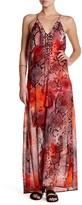 Hale Bob Halter Embellished Beaded Print Maxi Dress