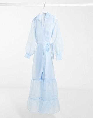 NA-KD organza wrap waist maxi dress in light blue