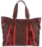 Etro Ponyhair-Trimmed Paisley Bag