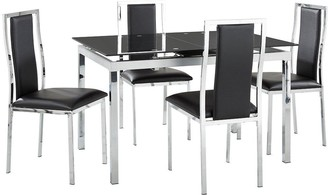 Glide Glass and Chrome 120-150 cm Extending Dining Table + 4 Atlantic Chairs - Black