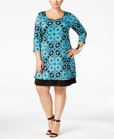 NY Collection Plus Size Printed Shift Dress