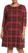 Tahari Plus Size Women's Plaid Knit Drop Waist Shift Dress