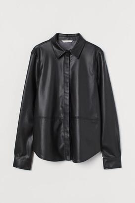 H&M Faux Leather Shirt - Black