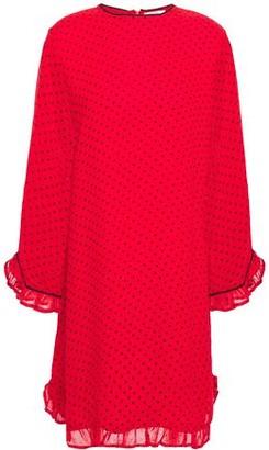 Ganni Ruffle-trimmed Printed Georgette Mini Dress