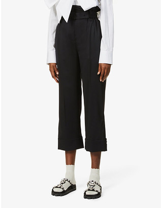 Simone Rocha Paperbag-waist high-rise stretch-wool trousers