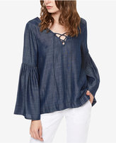 Sanctuary Lila Chambray Lace-Up Top
