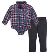Beetle & Thread 3-Piece Button-Down Bodysuit, Pant, and Bowtie Set in Pink/Navy