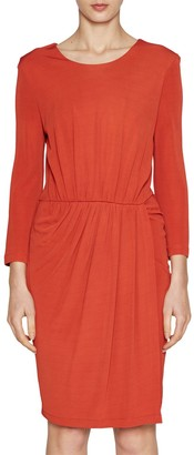 French Connection Elsa Drape Jersey Dress, Copper Coin