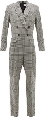 MSGM Prince Of Wales-check Wool Jumpsuit - Womens - Black White