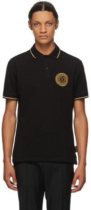Versace Black and Gold Logo Polo