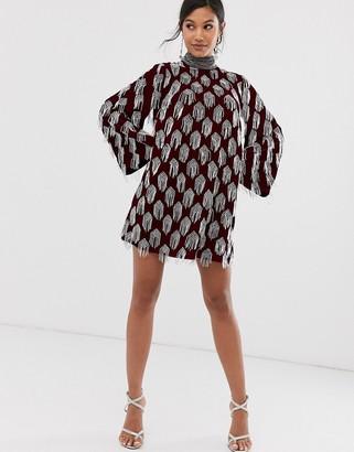 Asos Edition EDITION beaded tassel velvet mini dress-Red