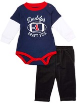Bon Bebe Navy 'Draft Pick' Layered Bodysuit & Denim Pants - Infant