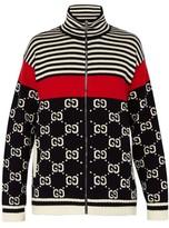 Gucci - Gg Instarsia Knit Zip Cotton Cardigan - Mens - Navy Multi