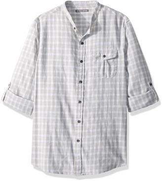 Michael Bastian Men's Long Sleeve Band Collar Windowpane Plaid Woven Shirt