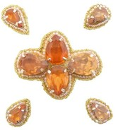 Pink Pewter Orange Beaded Jeweled Hair Clips