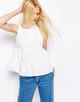 Asos High Neck Sleeveless Tiered Cotton Top