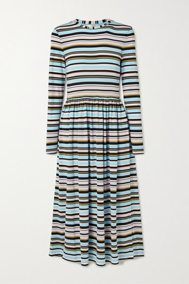 Stine Goya Joel Striped Stretch-jersey Midi Dress - Blue