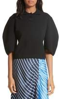 Tibi Women's Sculpted Sleeve Wool Blend Polo Sweater