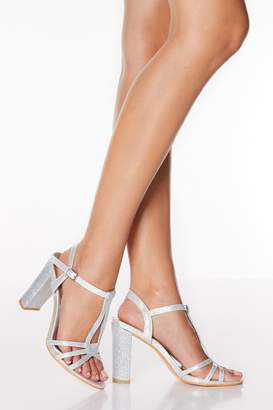 Quiz Silver Strappy T Bar Block Heel Sandals