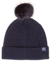Joules New Womens Blue Knitted Bobble Lambswool Hat Headwear